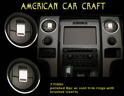 American Car Craft - ACC Ford Raptor A/C Front Vent Trim Rings 8Pc Polished/Brushed 2009-2013 - 771001