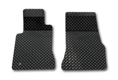 AMERICAN CAR CRAFT  - ACC Black Mustang Floor Mats Diamond Plate Powder Coated 2Pc V6 & GT 2005-2009 - 271009-BLK