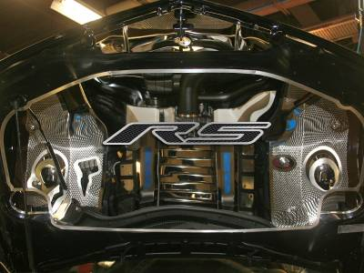 "AMERICAN CAR CRAFT  - ACC Black Camaro Hood Panel Emblem Brushed with Carbon Fiber ""RS"" 2010-2013 - 103019-BLK"