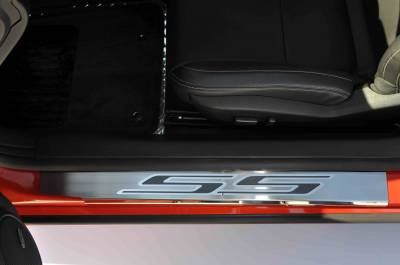 "AMERICAN CAR CRAFT  - ACC Black Black Camaro Doorsills Brushed/Polished w/Carbon Fiber ""SS"" 2Pc Outer 2010-2013 - 101003-BLK"