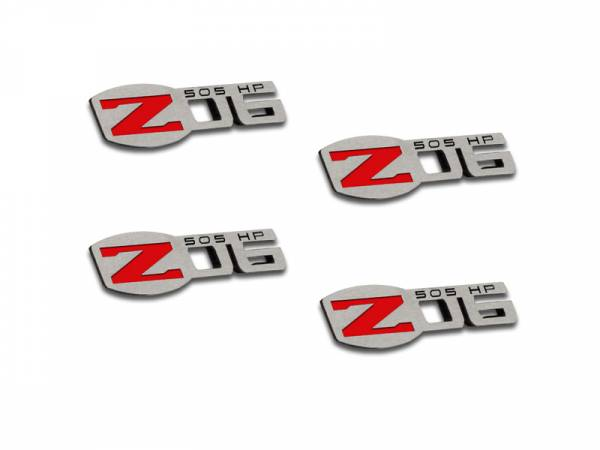 American Car Craft - ACC Corvette Z06 505HP Badges 4Pc Polished 2005-2013 C6 all - 042125