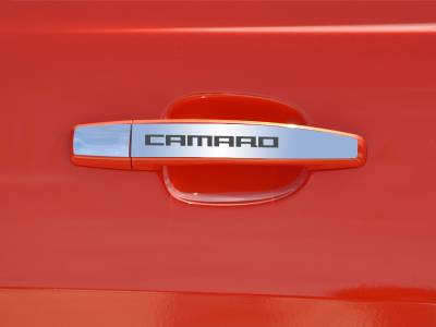 "AMERICAN CAR CRAFT  - ACC Camaro Door Handle Plate Polished Exterior ""CAMARO"" 2Pc 2010-2013 - 102082"