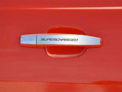 "AMERICAN CAR CRAFT  - ACC Camaro Door Handle Plate Polished Exterior ""SUPERCHARGED"" 2Pc 2010-2013 - 102083"