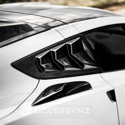BAKKDRAFT  - GLASSSKINZ BAKKDRAFT C7 STINGRAY 14-19 - GLASSSKINZ - GLASSSKINZ BAKKDRAFT C7 CORVETTE QUARTER LOUVERS 14-19