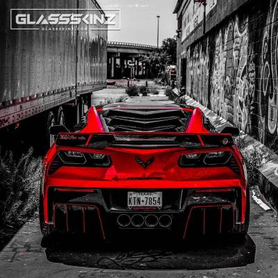 GLASSSKINZ C7 REAR WINDOW LOUVER BAKKDRAFT C7 CORVETTE WWW.D2BDMOTORWERKS.COM