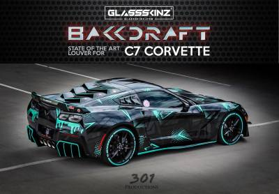 BAKKDRAFT  - GLASSSKINZ BAKKDRAFT C7 STINGRAY 14-19 - GLASSSKINZ - GLASSSKINZ  BAKKDRAFT C7 CORVETTE 14-19